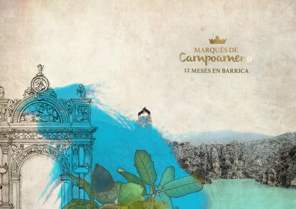 La Capilla de El Salvador (Úbeda) en la etiqueta de Marqués de Campoameno