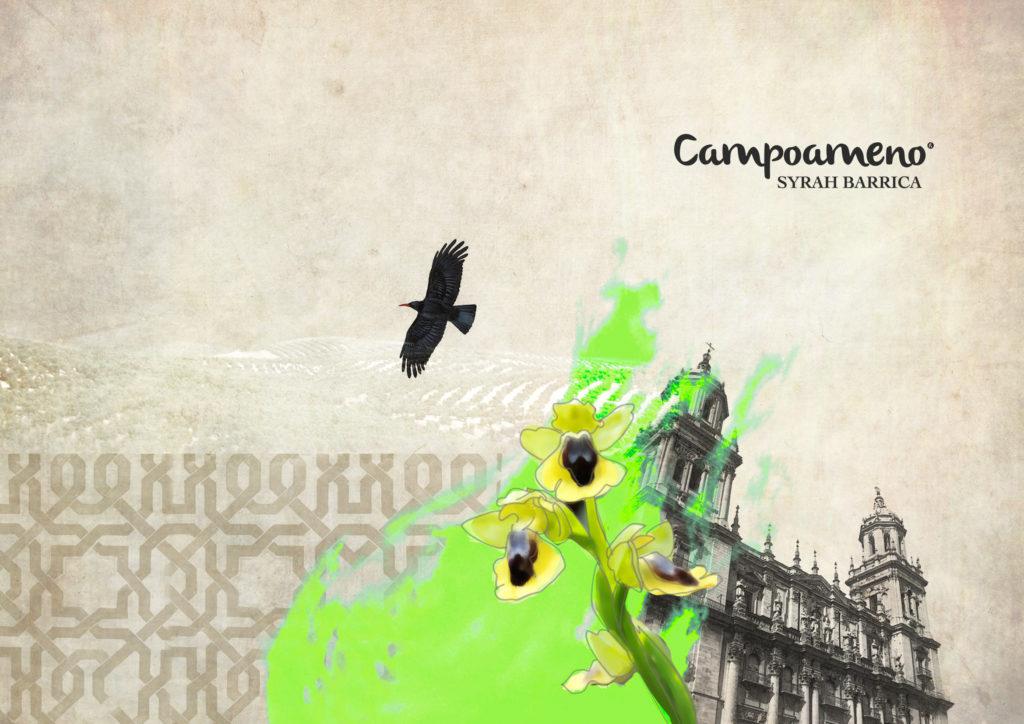 La catedral de Jaén y la Chova Piquirroja protagonizan la etiqueta del Campoameno Syrah Barrica.